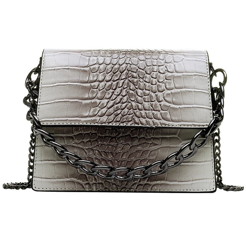 grey ombre snakeskin sling bag with chain edgability