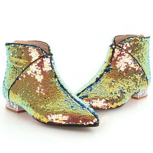 metallic gold sequins ankle boots edgability full view