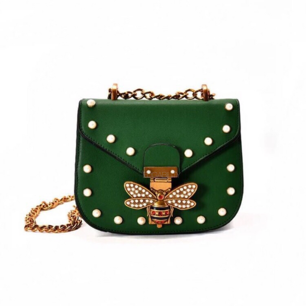pearl studded butterfly green bag edgability