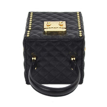 black bag box bag quilted bag studded bag edgability top view