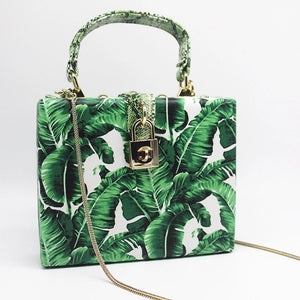 travel bag box bag tropical print edgability front view