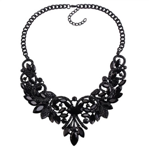 floral design statement jewelry black necklace edgability