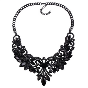floral design statement black neckpiece