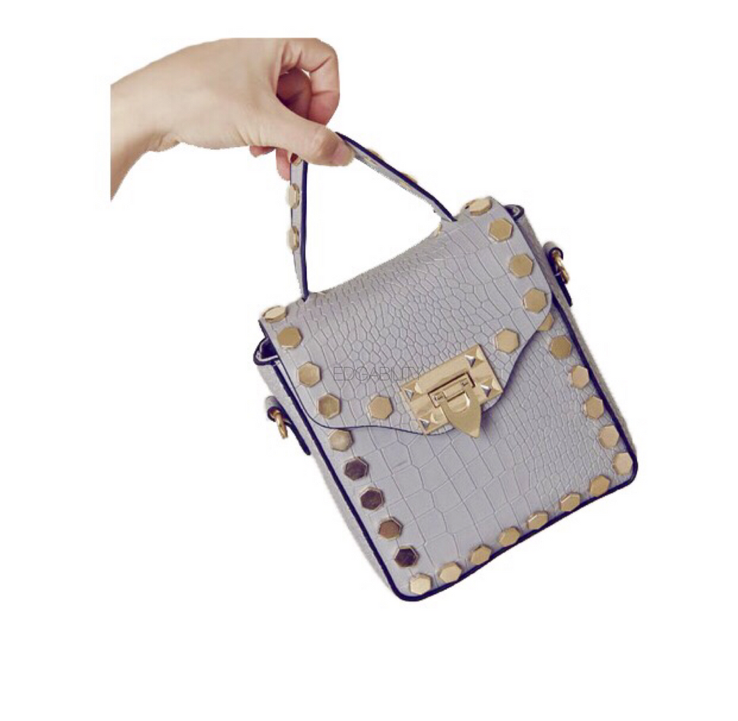 croc skin studded bag trendy bag edgability
