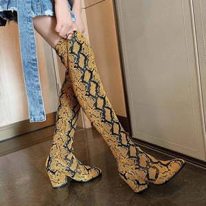 tan brown knee high snakeskin boots edgability detail view