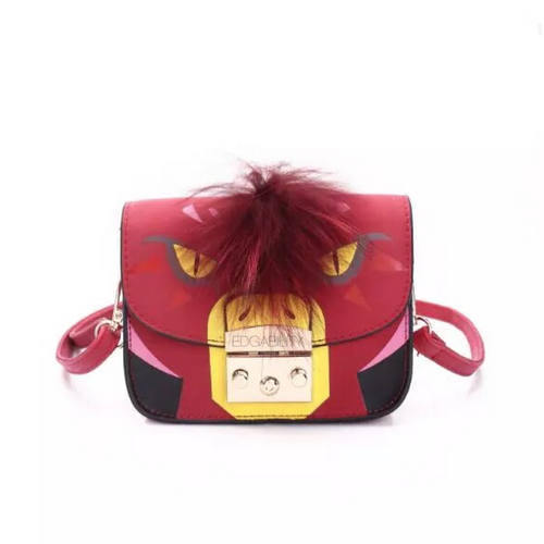 red furry animated printed handbag front view edgability