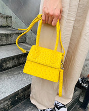 ostrich leather yellow bag edgy fashion edgability model view