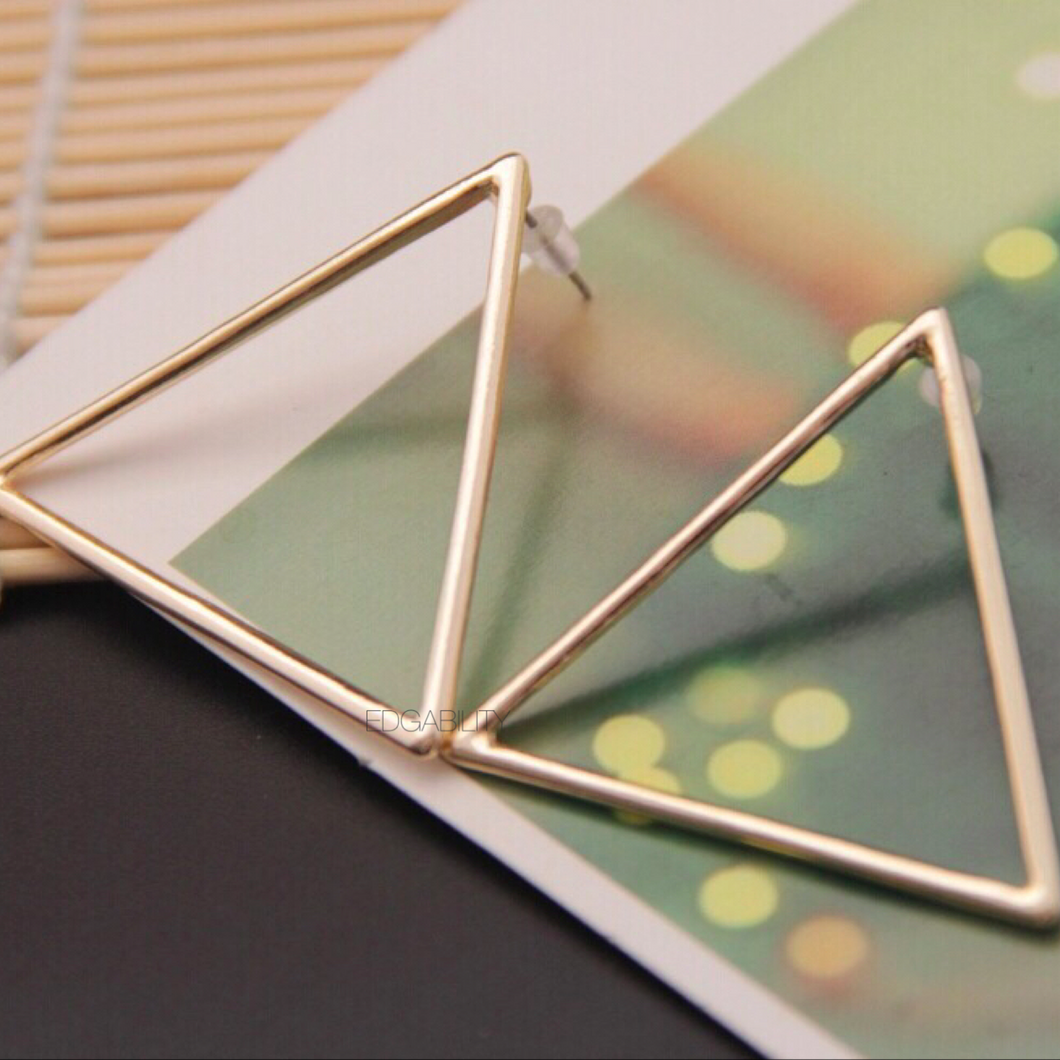 triangle earrings gold earrings edgability top view