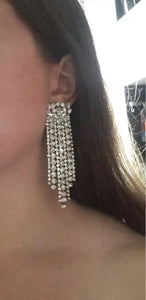 edgy classy silver crystal dangler earrings edgability model view