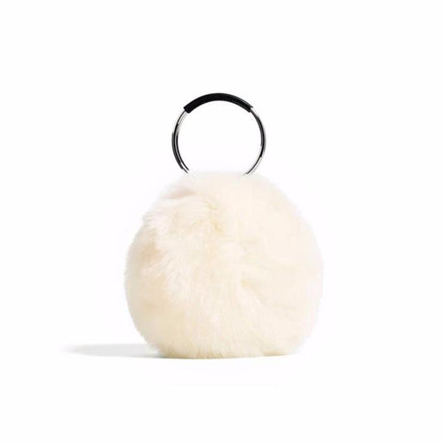 white fur bag with hoop handles edgability