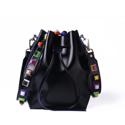 multicoloured studs strap black bucket bag edgability