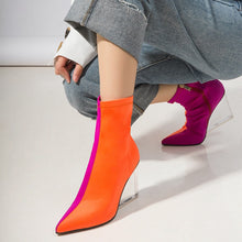 orange pink ankle boots edgy shoes edgability model view