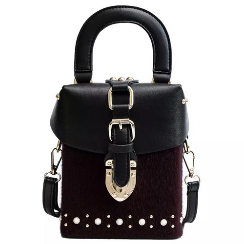 black box bag fur studded bag sling bag edgability
