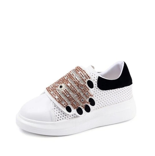 quirky embroidered white sneakers with crystals edgability