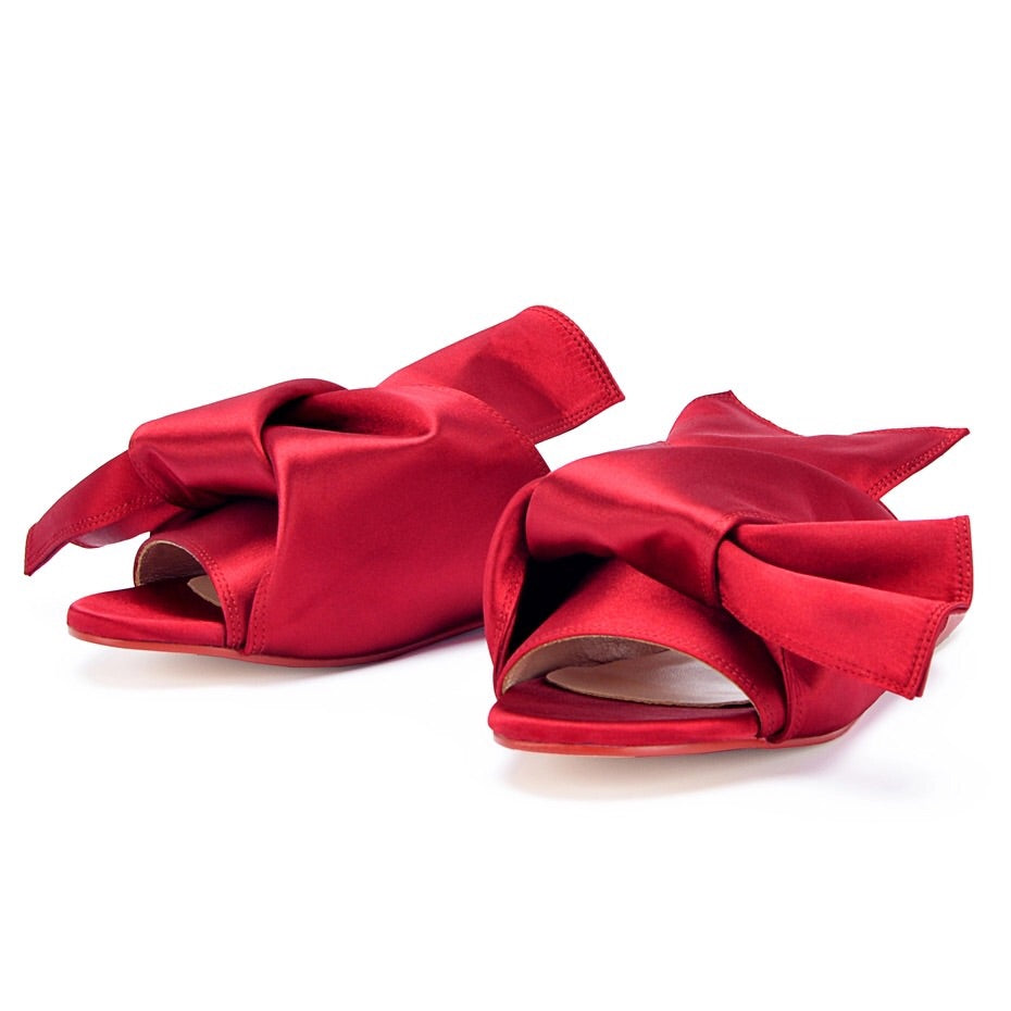 red flats ruffles trendy shoes edgability