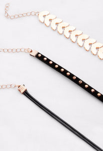 choker set of gold metal black studded black dual rope detail view edgability
