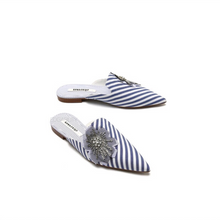 striped blue mules crystal flower angle view edgability