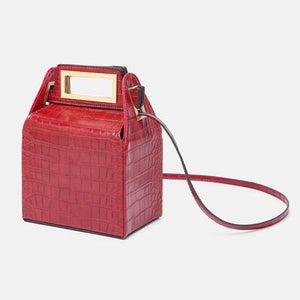 box bag snakeskin bag red bag bucket bag edgability angle view