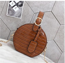 brown bag croc skin bag box bag round bag edgability front view