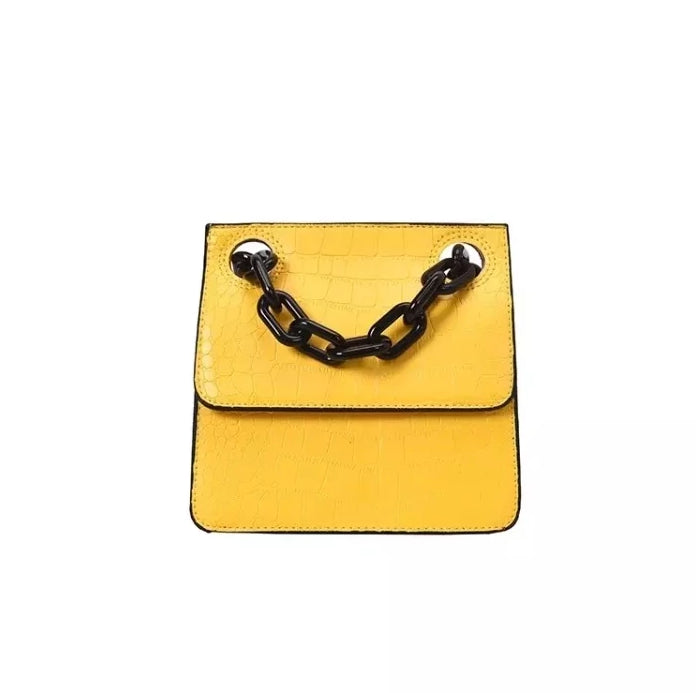 croc skin yellow sling bag with black strap edgability