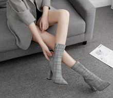 checked boots tweed boots heeled boots edgability model view