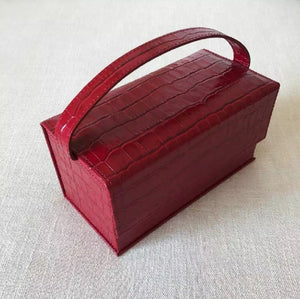 red croc skin mini micro box bag edgability