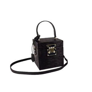 classy leather black box bag edgy fashion edgability side view