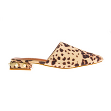 animal print faux fur mules with pearls edgability side view