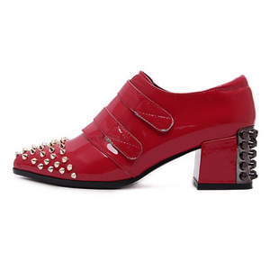 rivets red boots brogues edgability side view