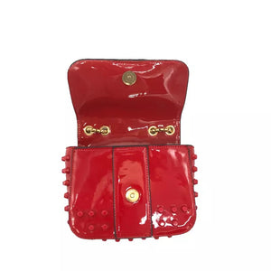 studded bag red sling bag edgability open view