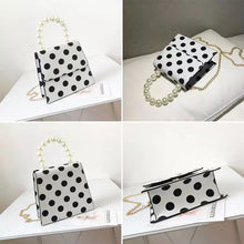 polka dots bag black and white bag pearls bag edgability detail view