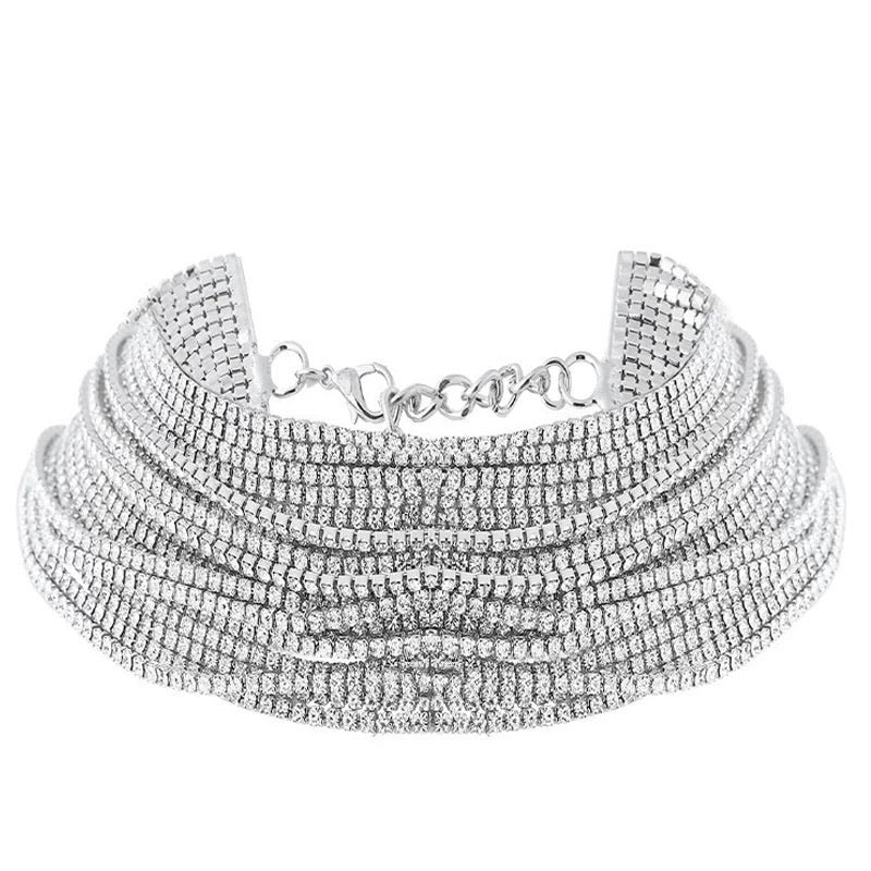 crystal layered statement necklace choker edgability