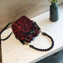 leopard print red bag drawstring bucket bag edgability front view