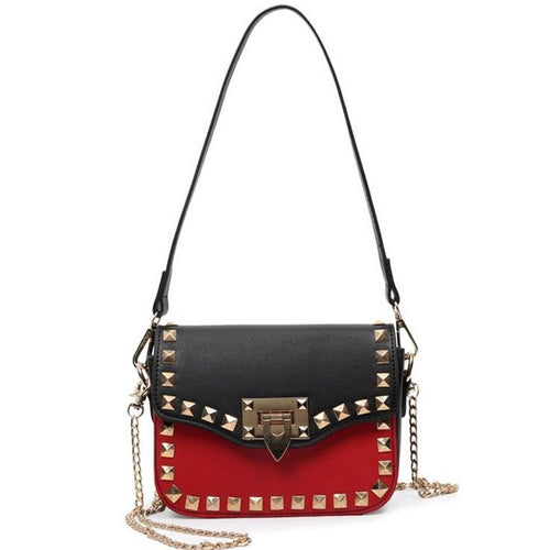 gold studded black red hand bag edgability