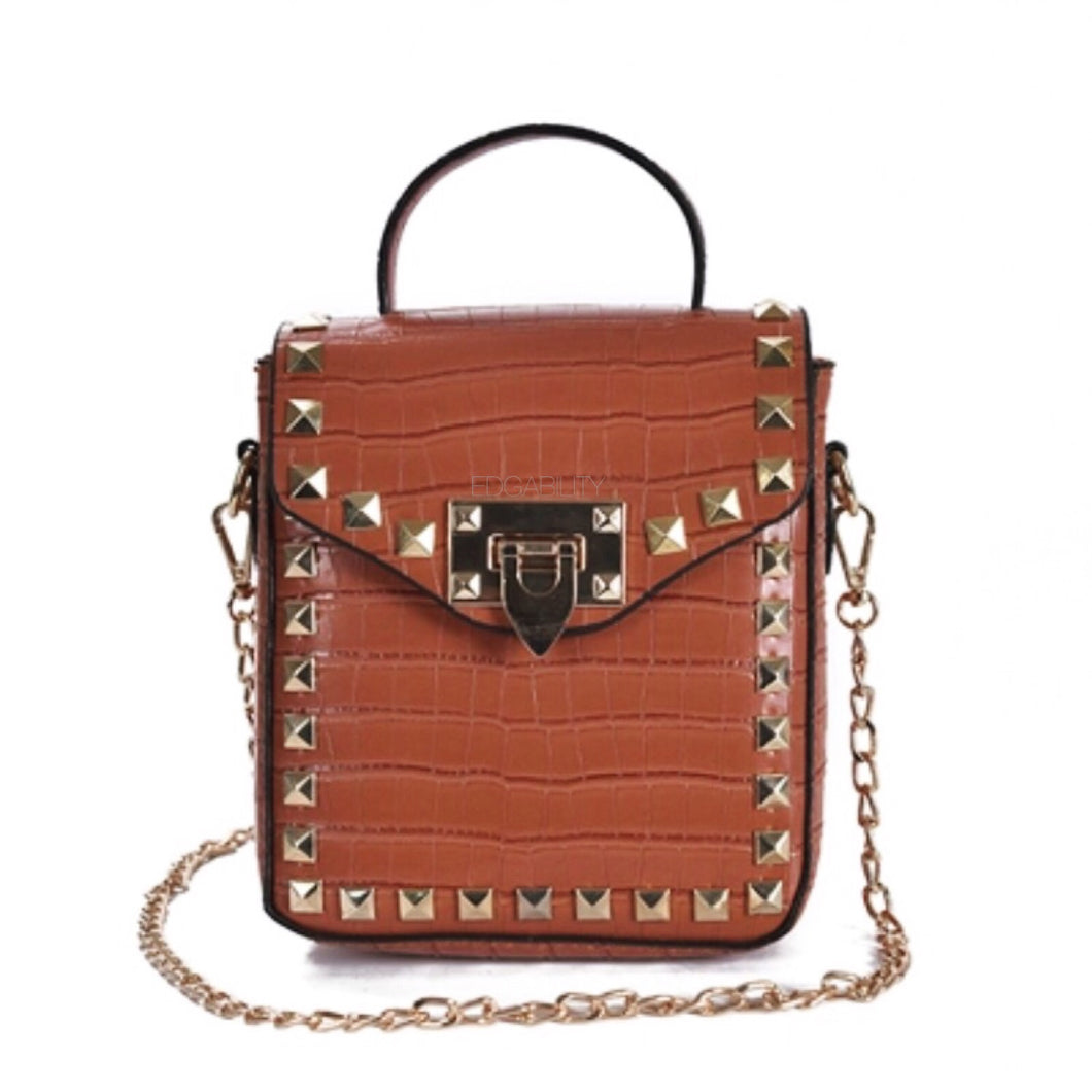 brown croc skin studded bag with handle Edgability