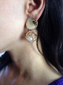 statement earrings gold earrings with pearls edgability model view