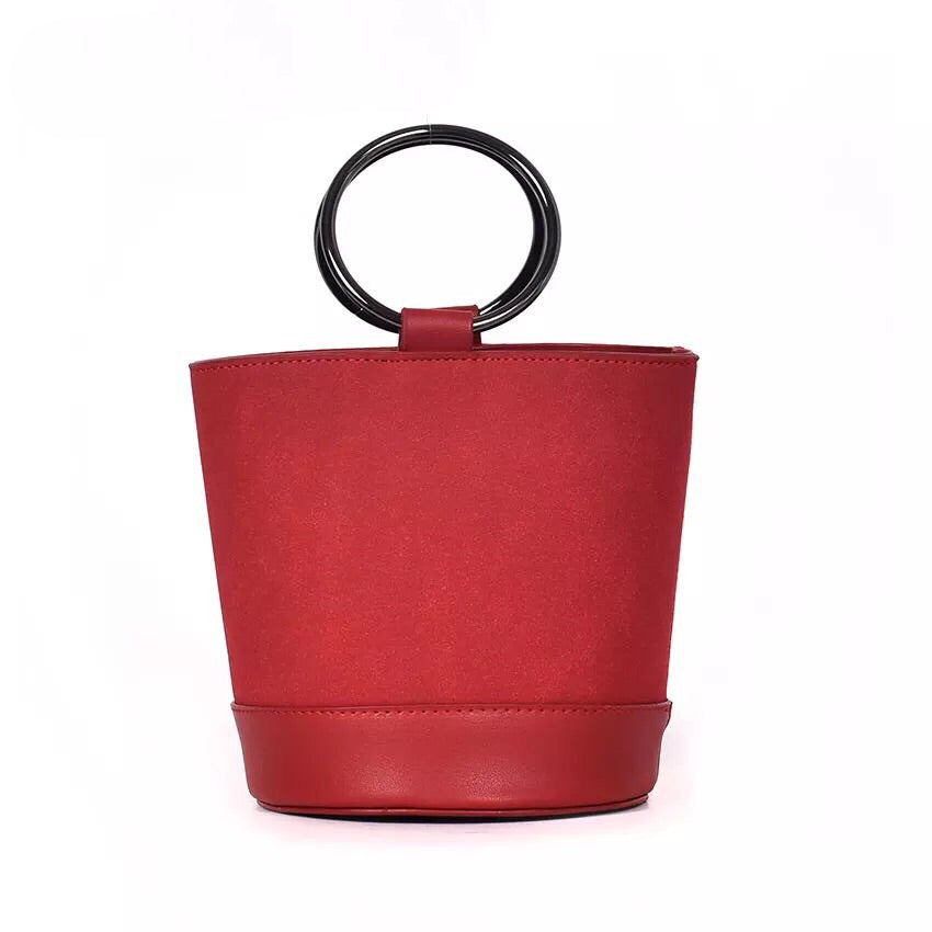 red bag bucket bag minimalist fashion edgability