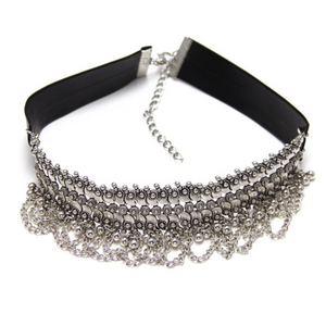 leather silver choker ethnic edgability front view