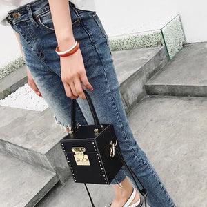 black studded bag box bag edgability model view