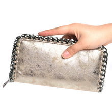 gold wallet metallic wallet with chain edgability model view
