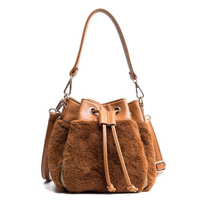 fur bag brown bag drawstring bag edgability