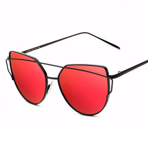 red sunglasses with black double frames angle view edgability