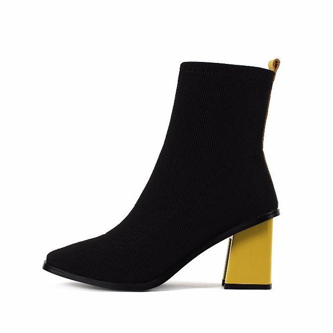 black boots ankle boots yellow heels edgability