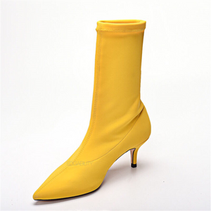 yellow boots with kitten heels edgability