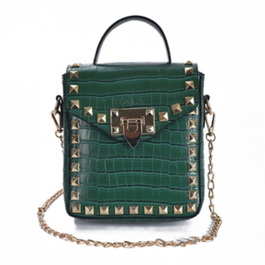 green croc skin studded bag with handle Edgability