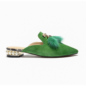 fur tassles on green flats side view edgability