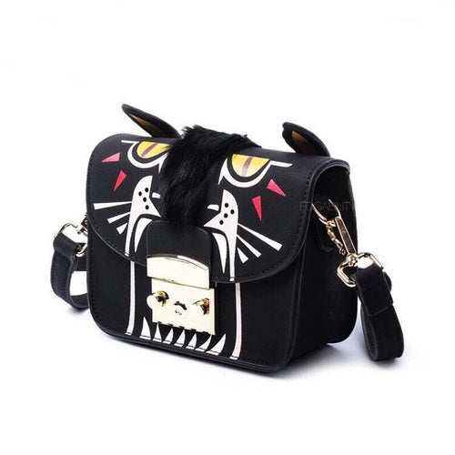 black furry animated printed handbag side view edgability