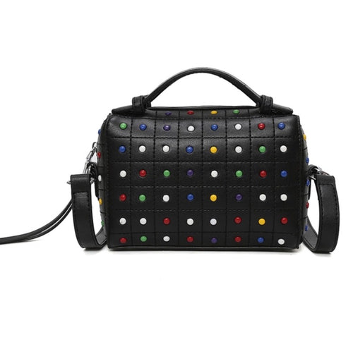 multicoloured studs black bag edgability