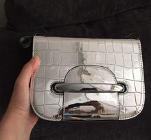 silver bag sling bag metallic bag edgability front view