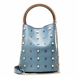 studded bag bucket bag blue bag edgability